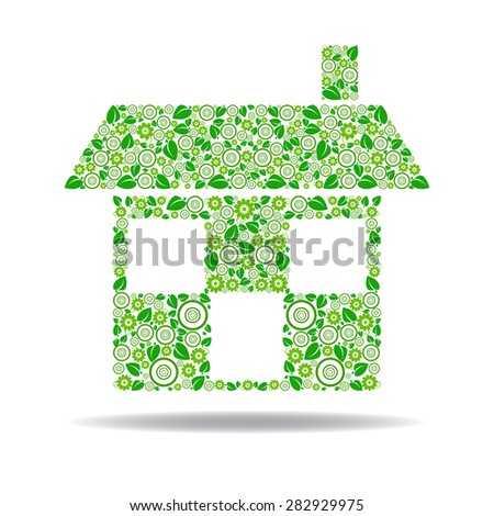 Eco House Icon Which Comprises Leaves Flowers And Circles
