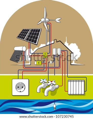 Eco house. Illustration of energy-independent housing. - stock vector