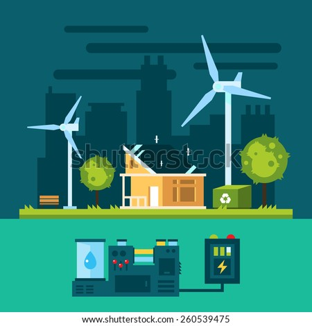 Eco house in urban scene with green energy illustration vector - stock vector