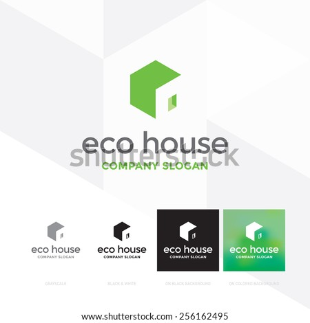 Eco house logo template / Hexagon forming a house - vector icon - stock vector