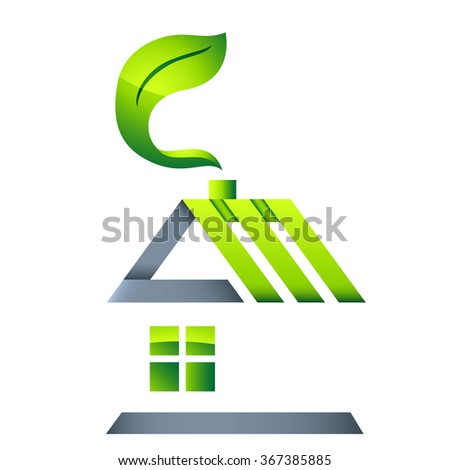eco house - real estate icon - stock vector
