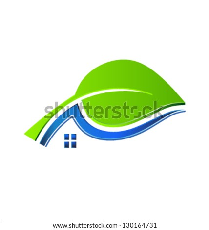 Eco house swoosh - stock vector