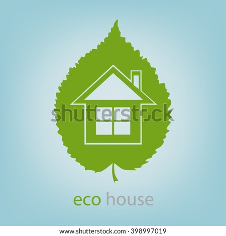 Eco house symbol carved in a tree leaf, vector illustration - stock vector