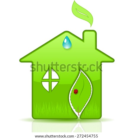 Eco House. Vector illustration. - stock vector
