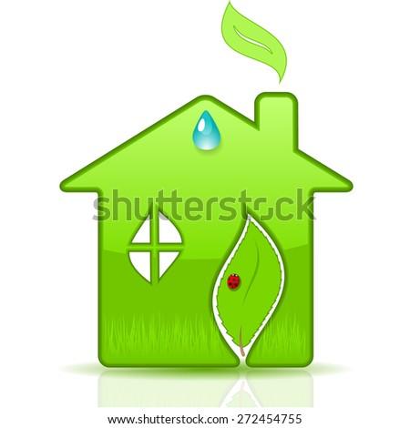 Eco House. Vector illustration. - stock vector
