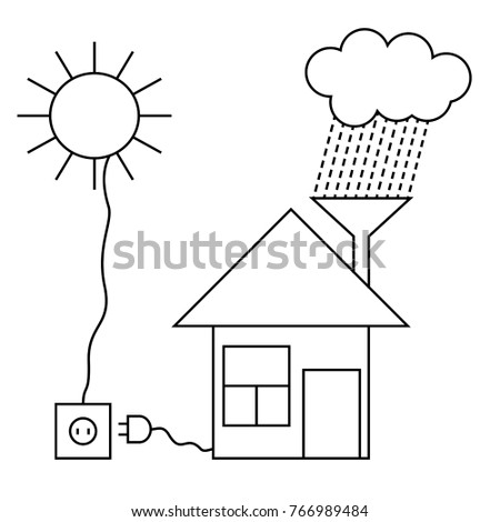 Eco House With Sun Battery And Use Of Rainwater. Low Energy Green Home.