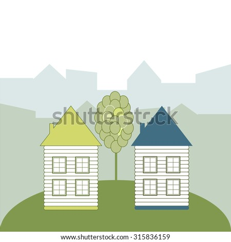 Eco Houses, Think Green Concept - stock vector