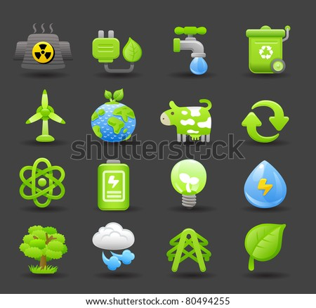eco icon | Dark series - stock vector