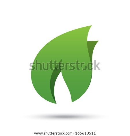 Eco icon green leaf vector illustration. Eco concept. Isolated on white background. - stock vector