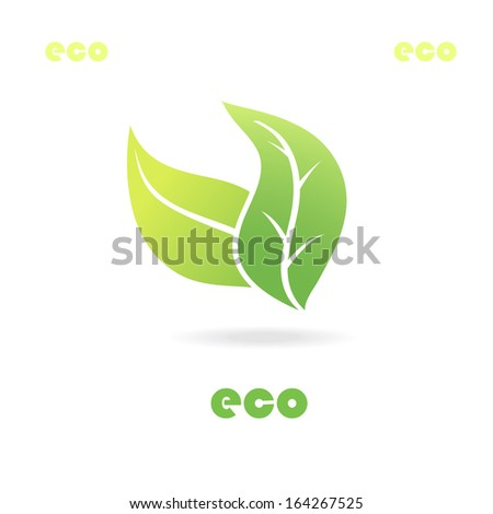 Eco icon green leaves illustration, isolated background