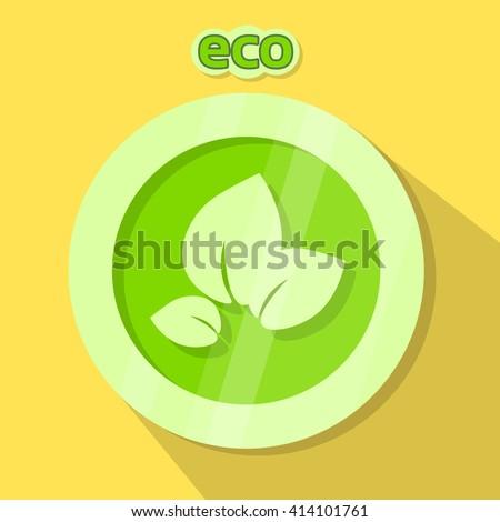 Eco Icon Green Logo Nature Environment Protection Flat Vector Illustration - stock vector