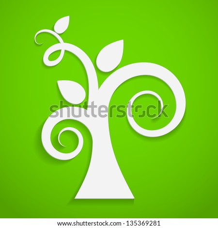 Eco icon. Paper tree on green background. Vector illustration.