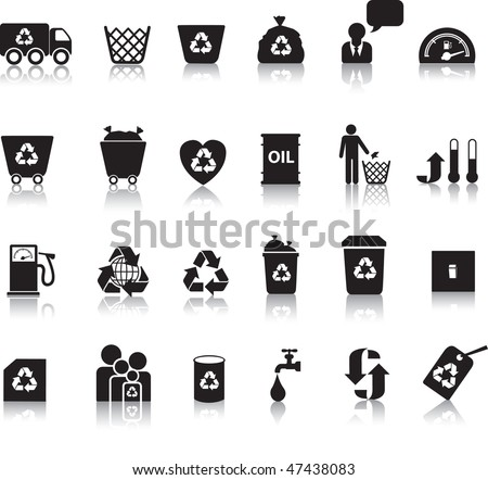 Eco icon set illustrated as black silhouettes with reflection - stock vector