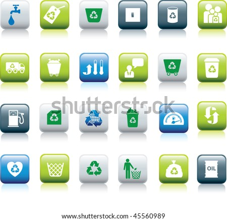 Eco icon set illustrated as green, blue and white buttons - stock vector