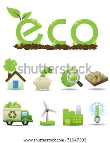 Eco Icon set -- vector green icon - stock vector