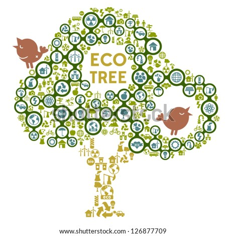 Eco Icon Tree Concept - stock vector
