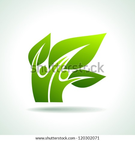 Eco icon with green dancers - stock vector