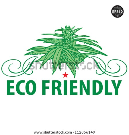 ECO Icon with Isolated cannabis plants vector illustration - stock vector