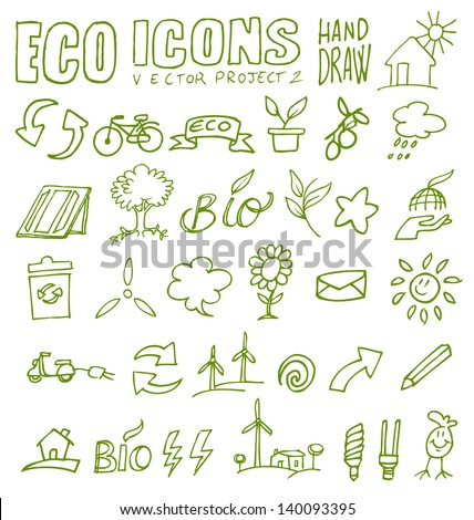 eco icons eco icons hand draw 2