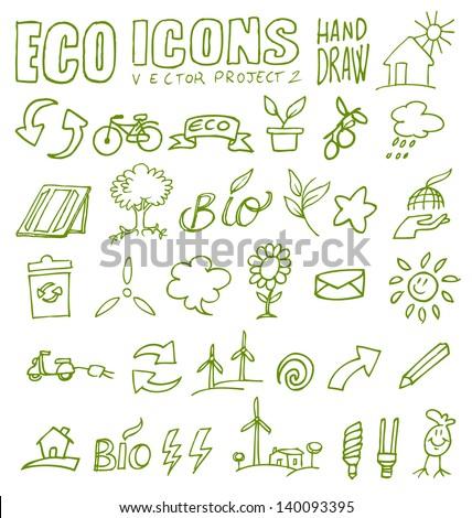 eco icons eco icons hand draw 2 - stock vector