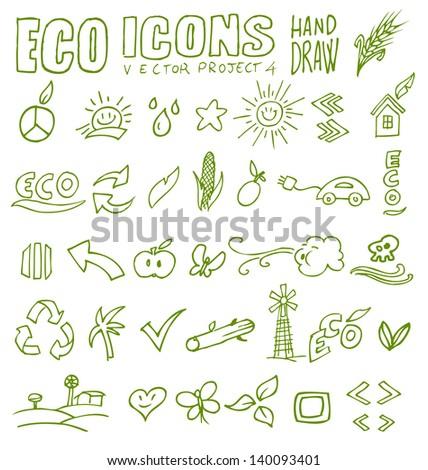 eco icons eco icons hand draw 4 - stock vector