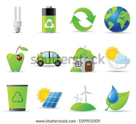 Eco icons - 12 environment-related icons - stock vector