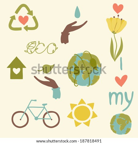 Eco icons hand draw - stock vector