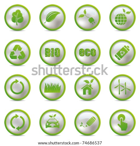 Eco icons set. Illustration vector. - stock vector