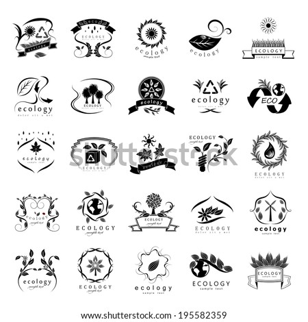 Eco Icons Set - Isolated On White Background - Vector Illustration, Graphic Design Editable For Your Design - stock vector