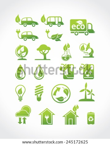 Eco icons, vector set. Alternative energy sources. - stock vector