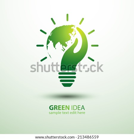 Eco idea with earth and hand,vector illustration - stock vector