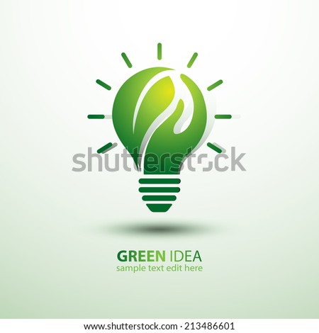 Eco idea with leaves and hand,vector illustration - stock vector