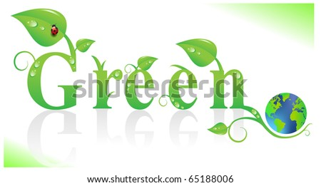eco illustration of green planet - stock vector
