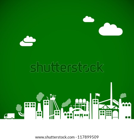 eco industrial background - factory, industry, ecology concept - stock vector