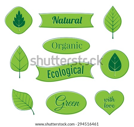 Eco labels and icons. Organic ribbons and banners. Vector illustration. - stock vector