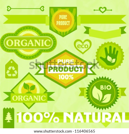 Eco labels and stickers - stock vector