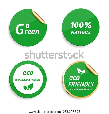 Eco labels. Vector illustration. - stock vector