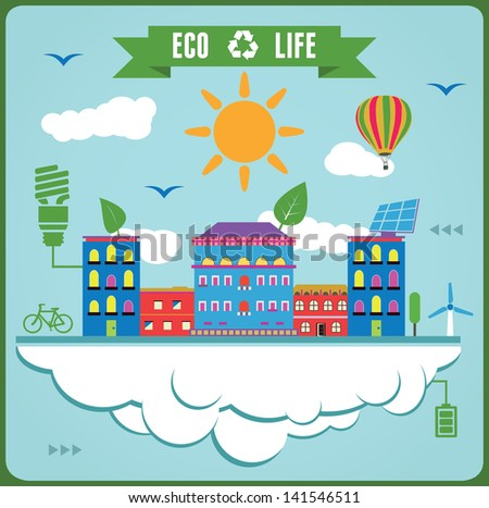 Eco Life Info Graphics. Concept of ecology - vector illustration - stock vector