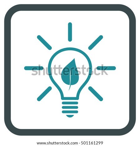 Eco Light Bulb soft blue vector icon. Image style is a flat pictograph symbol in a rounded square frame on a white background.