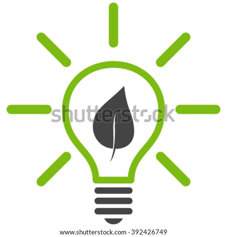 Eco Light Bulb vector icon. Eco Light Bulb icon symbol. Eco Light Bulb icon image. Eco Light Bulb icon picture. Eco Light Bulb pictogram. Flat eco green and gray eco light bulb icon. - stock vector