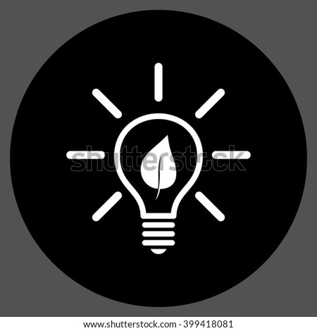 Eco Light Bulb vector icon. Image style is a flat icon symbol on a round button, black and white colors, gray background. - stock vector