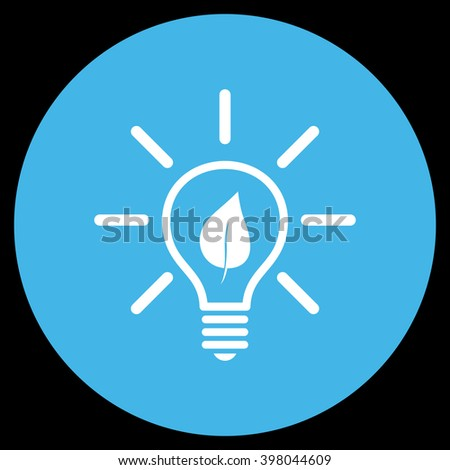 Eco Light Bulb vector icon. Image style is a flat icon symbol on a round button, blue and white colors, black background. - stock vector