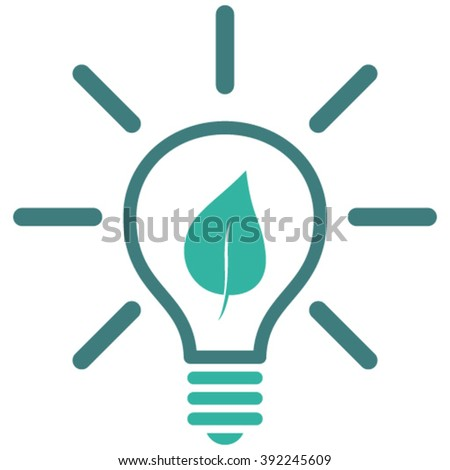 Eco Light Bulb vector icon. Style is bicolor flat icon symbol, cobalt and cyan colors, white background. - stock vector