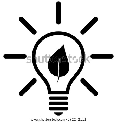 Eco Light Bulb vector icon. Style is flat icon symbol, black color, white background. - stock vector