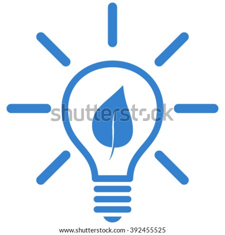 Eco Light Bulb vector icon. Style is flat icon symbol, cobalt color, white background. - stock vector