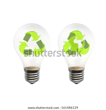 Eco lightbulb isolated on white. Vector design.