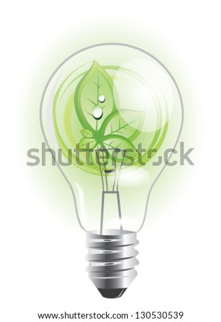 Eco lightbulb with growing plant inside of it, EPS 10