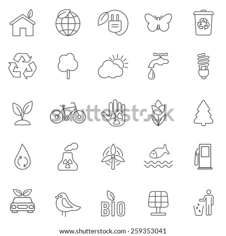 Eco line icons set .Vector - stock vector