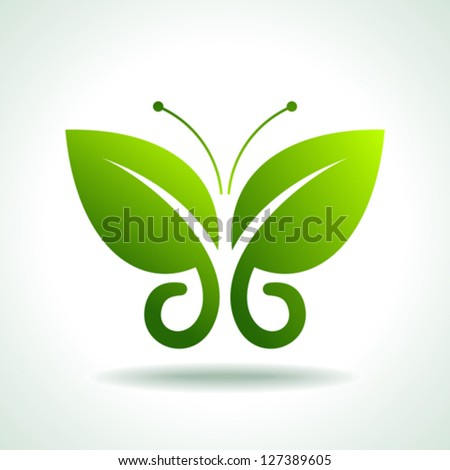 Eco logo  green butterflies - stock vector
