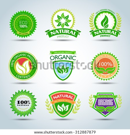 Eco logo template set. 100% organic product certified, natural product. Bio label with retro vintage design. Green Vector illustration. - stock vector